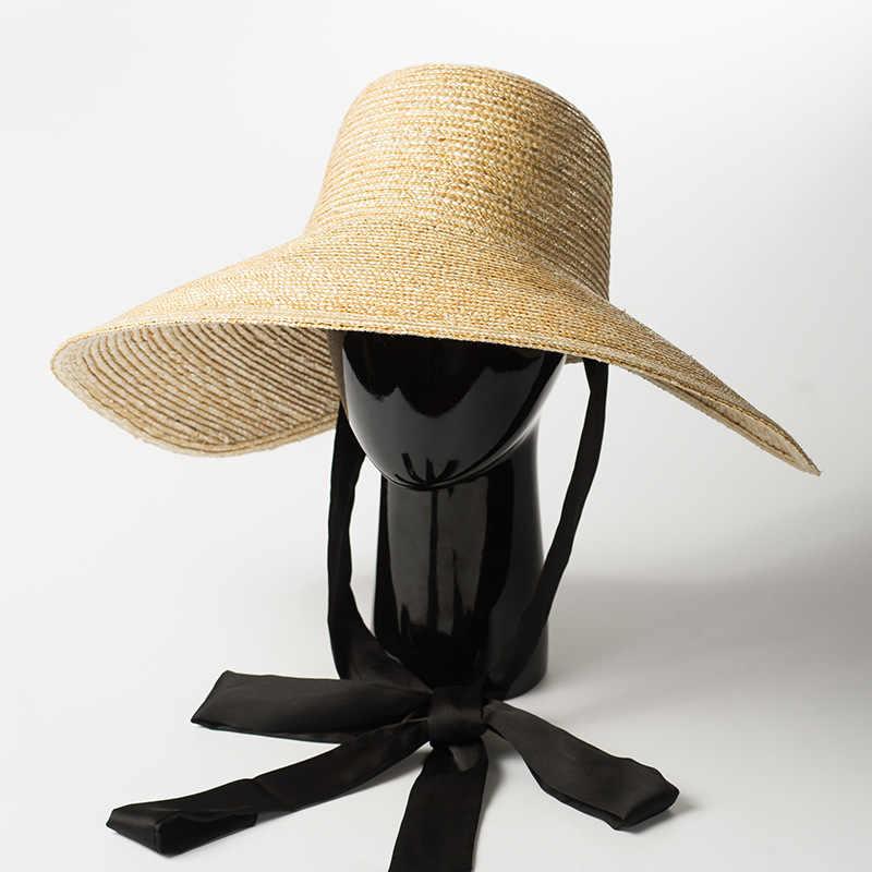 3081bd127b88f0 Wide Brim Hat Women Summer Vintage Sun Hat with Ribbon Ties 2018 Beach  Straw Bucket Hatsfor