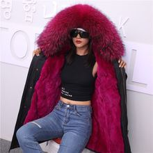 купить 2019 Winter Jacket Women Real Fur Coat Long Parka Waterproof Big Natural Raccoon Fur Collar Hood Thick Warm Real Fox Fur Liner дешево