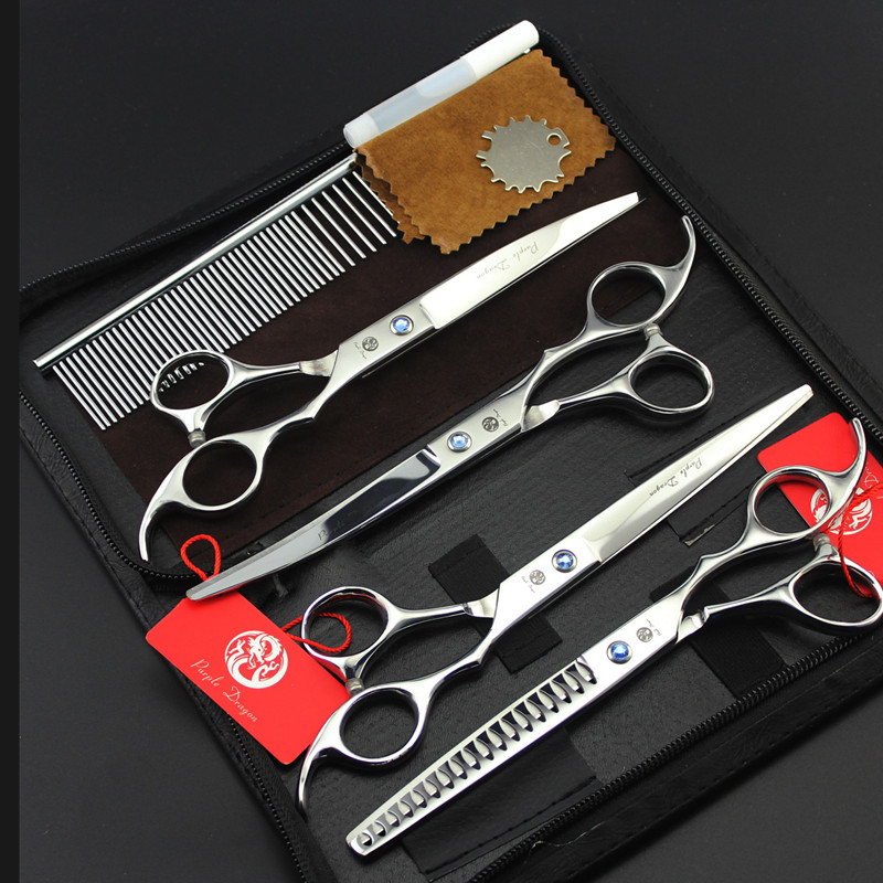 Purple Dragon Brand 7 Inch Silver Hair Cutting+Curved+Thinning Scissors with Case Pet Grooming Scissors Set Professional Kits Purple Dragon Brand 7 Inch Silver Hair Cutting+Curved+Thinning Scissors with Case Pet Grooming Scissors Set Professional Kits