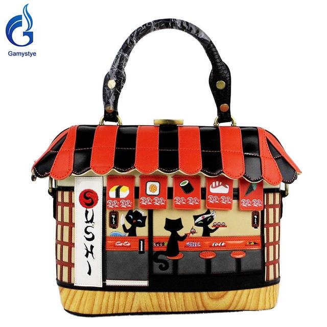 2017 women bags Shoulder Bag cut cat house Handbag Sushi Style Retro Handmade Bolsa Feminina PU Bags For Ladies cartoon bags