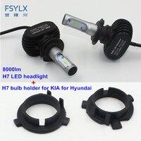 FSYLX Car H7 LED Headlight with bulb adapter clip retainer for KIA K3 Sportage Santa Fe Outlander H7 Headlights headlamps H7