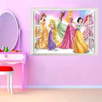 3D Janela Falsa Princesa Adesivos de Parede para Quartos Dos Miúdos Decoração DIY Adesivo de Parede Do Quarto Mural Presente da menina cartaz