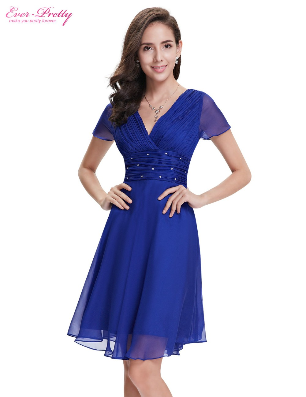 Short Sleeve V Neck Ruched Bust Chiffon Party Dress 7