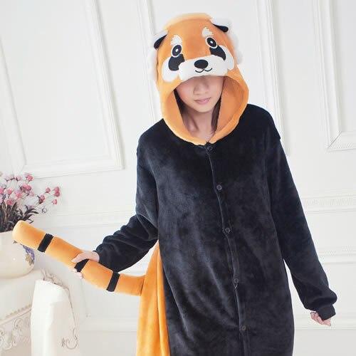 Cute Raccoon Unisex Flannel Fashion Pajamas Adult Anime Cosplay Pyjama Costume Onesie Sleepwear For Men and Women