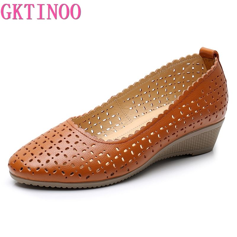 GKTINOO Spring Summer Women Shoes Genuine Leather Casual Slip-on High Heels Hollow Out Wedges Shoes Women Pumps Large Size