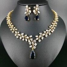 New fashion luxury romantic BLUE water drop zircon golden necklace earring set,wedding bride formal jewelry free shipping!