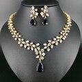 Nueva moda de lujo romántico AZUL gota de agua circón oro pendiente del collar set, boda de la novia formal de la joyería el envío libre!