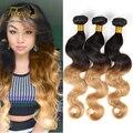 Febay 2015 XuChang Productos Para Las Mujeres Ombre Brasileña Del Pelo Humano Virgin Hair Bundles Onda Del Cuerpo Marrón Claro 3 Unids Mejor calidad
