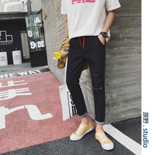 Wholesale 2019 spring autumn Men's new trend Korean youth wild rope knee hole Harajuku style casual teenagers pencil jeans 2018 spring autumn models wild black casual jeans