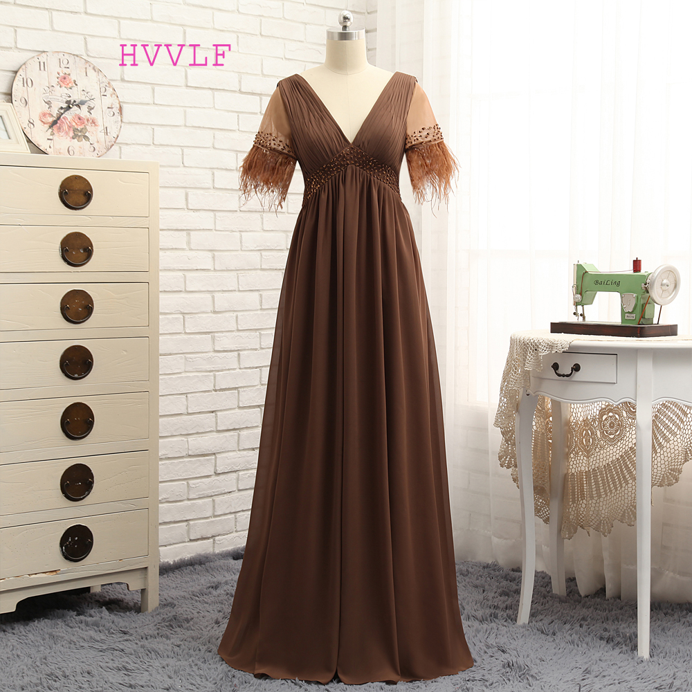 Plus Size Brown 2019 Mother Of The Bride Dresses A-line V-neck Chiffon Feather Wedding Party Dress Mother Dresses For Wedding