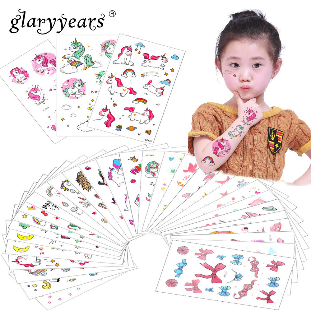 Glaryyears 3 Pieces/Set Temporary Tattoo Sticker Carton Fake Tatoo  Flash Tatto Waterproof Small Body Art Children 11 Designs