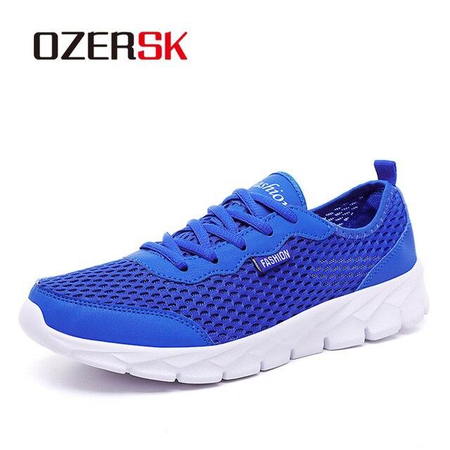 OZERSK الرجال أحذية رياضية الصيف حذاء كاجوال تنفس الرجال شبكة خارجية أحذية الرجال الدانتيل يصل أحذية خفيفة البحرية السوداء حجم كبير 39 48