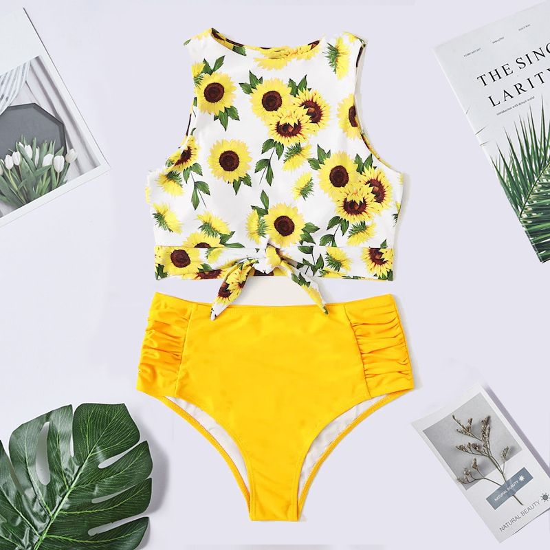 2019 Sexy Brazilian Bikini Push Up Swimsuit Sunflower Printing High Waist Bathing Suits Swimwear Women High Neck Bikini