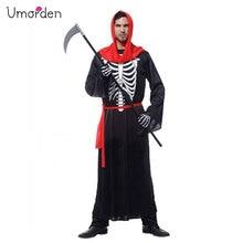 Umorden Хэллоуин карнавальные костюмы для взрослых мужчин страшный череп скелет Монстр Костюм демона с капюшоном халат для мужчин M-0072