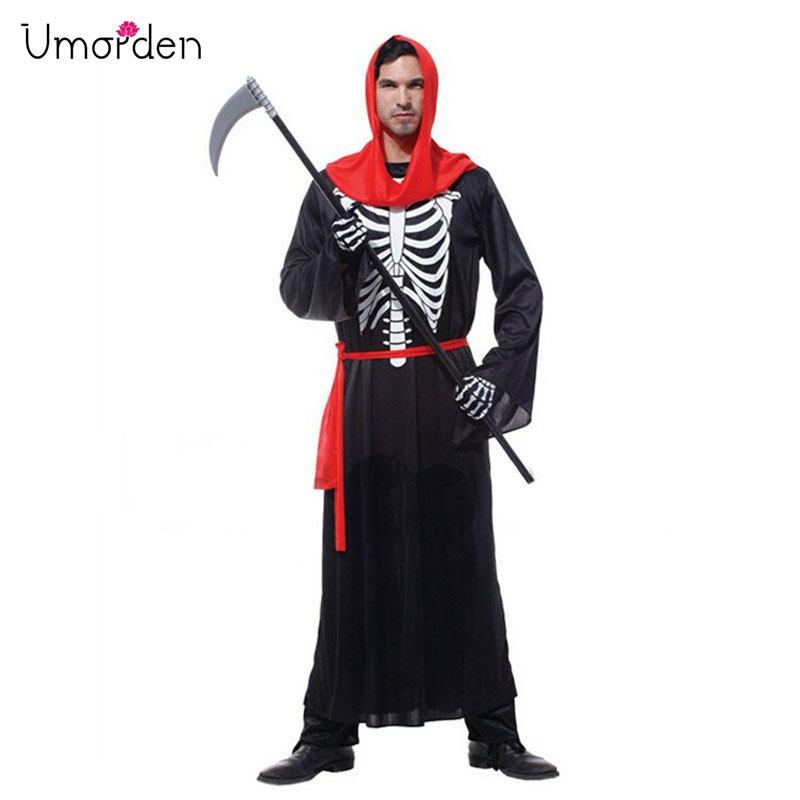Umorden Halloween Carnival Party Costumes Adult Men Scary Skull Skeleton Monster Demon Costume Hooded Robe For Man M-0072