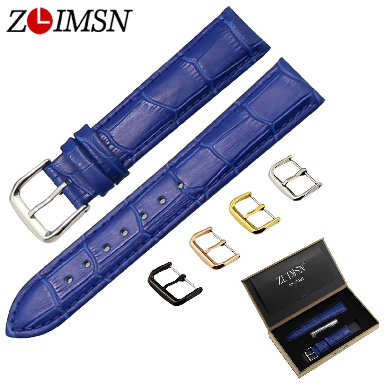 ZLIMSN Italian Genuine Leather Watch Band Blue Crocodile & Grain Strap Gold Black Silver Rose Gold Pin Buckle 12 14 16 18 20mm new fashion replace watch band 22mm 24mm mens womens dark blue 100% genuine crocodile grain leather watch strap band bracelets