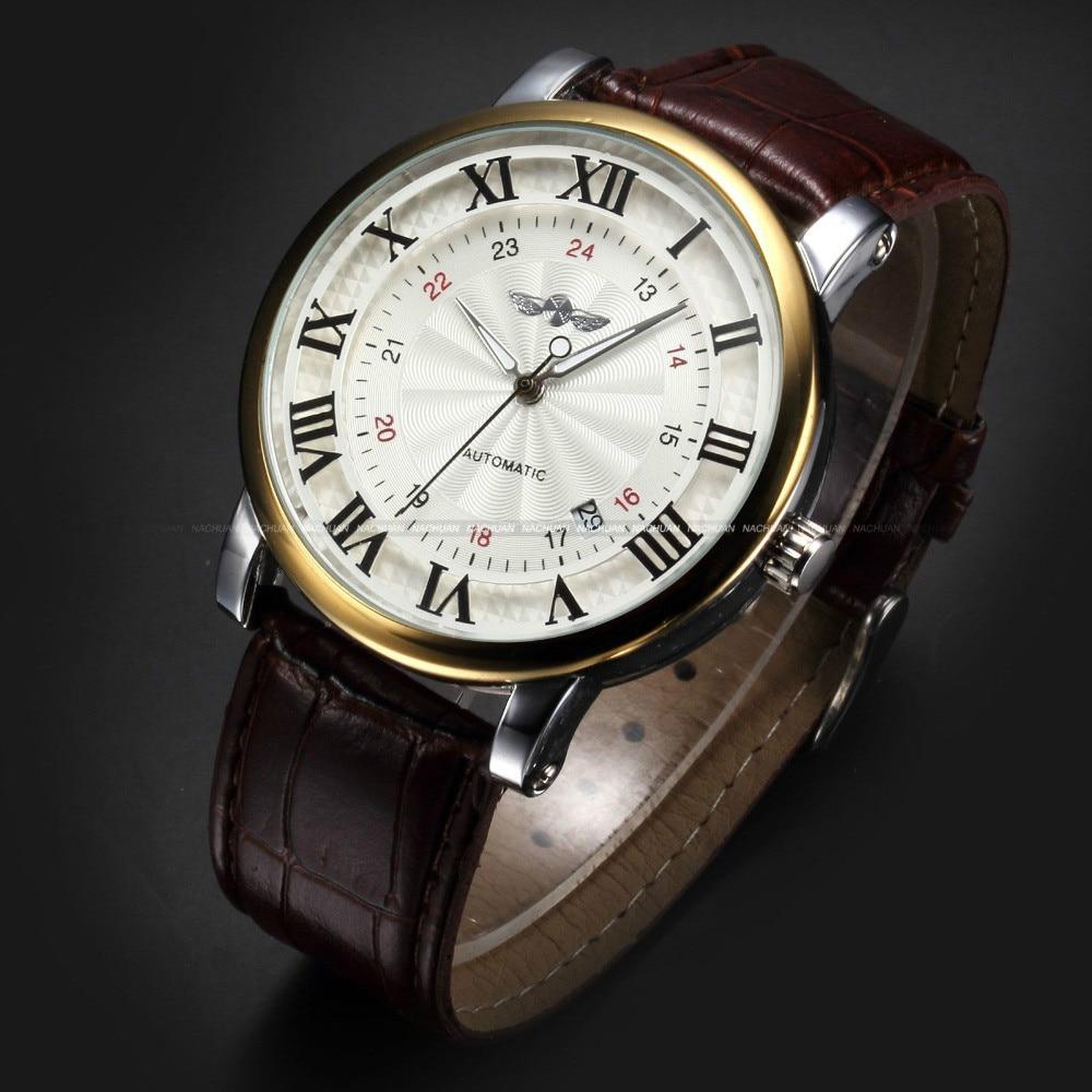 Rome Number Fashion Men WINNER Top Brand Gold Sport Wristwatches Self wind Automatic Mechanical Calendar Leather Watch Clock