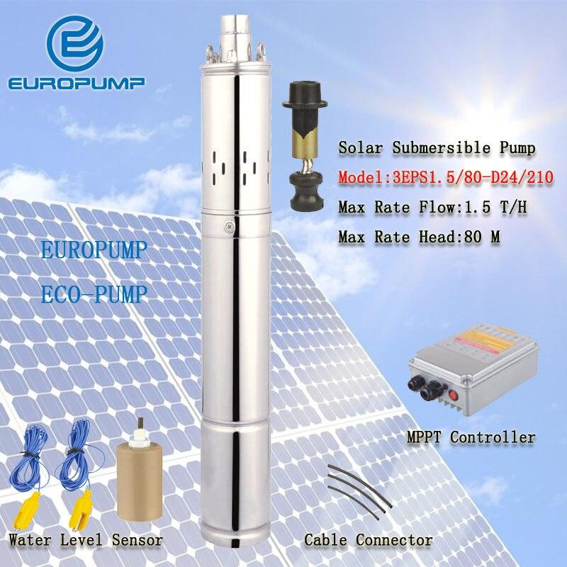 EUROPUMP MODEL(3EPS1.5/80 D24/210) 24 volt 80M Lift dc deep well solar submersible water pump system/price solar water pump