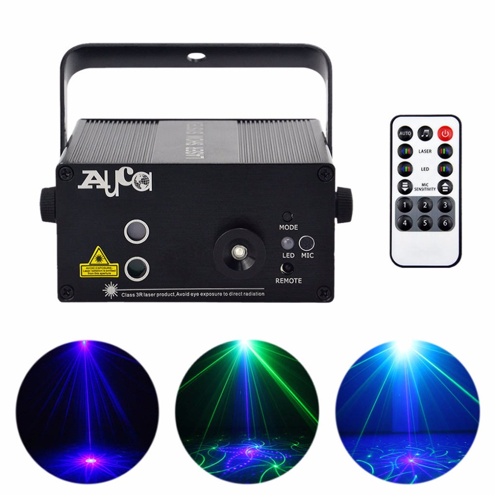 AUCD 40 Patterns Green Blue Laser Crossover Effect Projector 3W Blue LED Mixing Effect DJ Party Show Xmas Stage Lighting AZ40GB aucd mini 12 patterns red green laser projector stage light 3w blue led mixing effect laser dj show home party lighting z12rg
