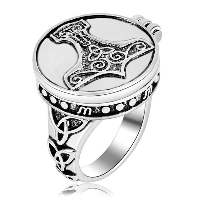 EZEI Vintage Jewelry Thors Hammer Knot Mjolnir Locket Viking