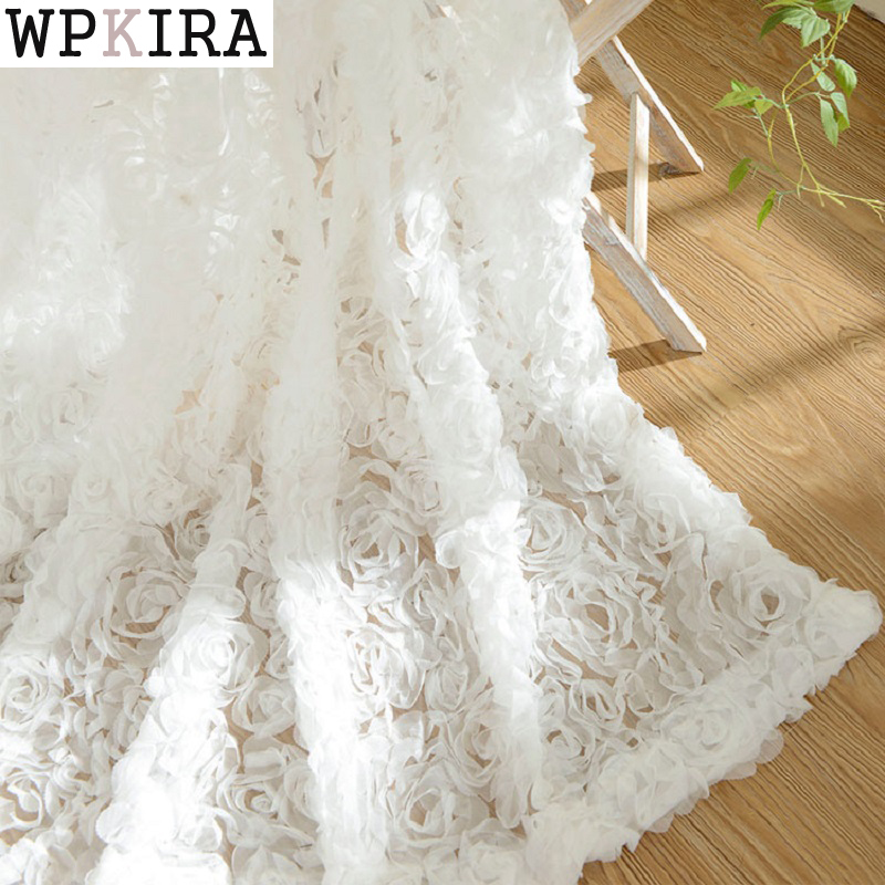 White Rose Korean 3d Curtains Embroidered Floral Tulle Cortinas Sheer For Living Room Baby Kitchen Bedroom Curtain 148&20