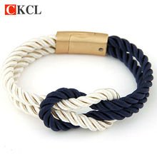 Hot Trendy Fashion Braided Rope Chain with Magnetic Clasp Bow Charm Leather Bracelets Bangles for Women