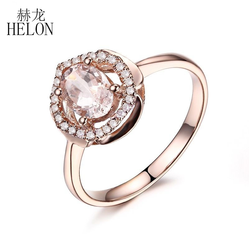 HELON Surprise Gift Solid 10K Rose Gold Oval 7x5mm Pink Morganite Natural Diamond Ring Engagement Diamonds Gemstone Ring helon solid 10k rose gold oval cut 7x5mm morganite natural diamond ring engagement wedding gemstone ring gift jewelry setting