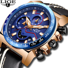 купить New LIGE 2019 Casual Leather Mens Watches Top Brand Luxury Men's Sports Watch Men Blue Waterproof Quartz Watch Relogio Masculino по цене 1562.5 рублей
