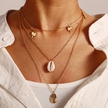 Necklace for Women Beach Accessories Bohemian Jewelry Simple Black Alloy Chain Gold Silver Color Beads Shell Clavicle Choker New