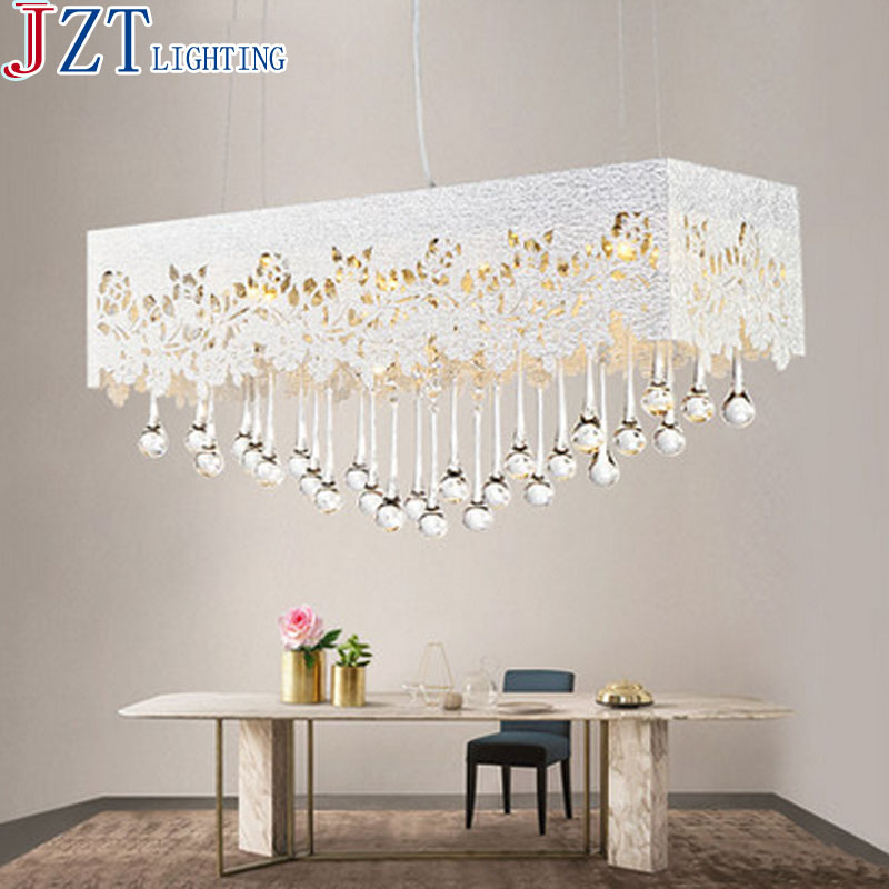 M 2016 Newest Dining Room Crystal Pendant Light Rectangular Pattern Carved L65W23cm 82W Metal Acrylic Lamp Shade For Bedroom