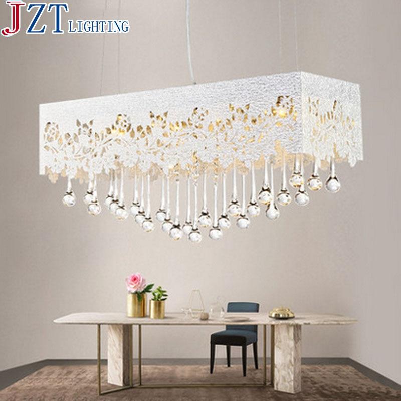 M 2016 date salle à manger cristal pendentif lumière rectangulaire motif sculpté L65 * W23cm 8*2 W métal acrylique abat-jour pour chambre