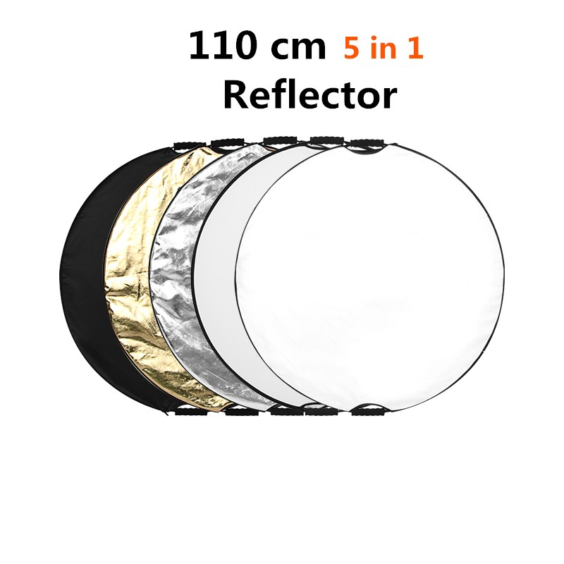 """CY 35"""" 110cm 5 in 1 Round Flash Photography Collapsible Multi-Disc Light Reflector for Camera Photo Studio+Zipped Carrying Bag"""