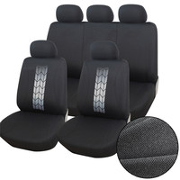 Universal Breathable Car Seat Covers with Tire Track Patten 5 Seat+5 Headrest Cover Complete Seat Protector for All Seasons