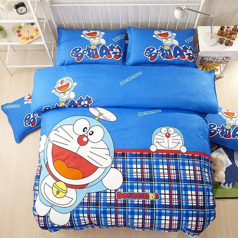 Hot Sale Cartoon Doraemon theme Comforter Bedding Sets Queen Size Children Bedspread Satin Bed Sheets Household Duvet Cover Set