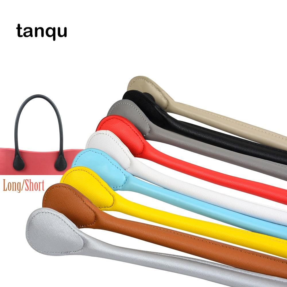 TANQU New Curto Longo PU Couro Falso Punho para O Saco Obag Macio Colorido Alça para Mini Clássico das Mulheres sacos de EVA Bolsa DIY