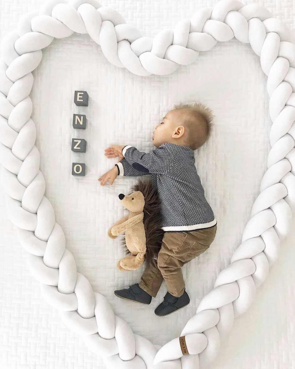 ความยาว 200 ซม.สูง 12 ซม.สีทารก Soft Pad Braided กันชน Knot หมอน Cradle Decor สำหรับ baby Girl and Boy