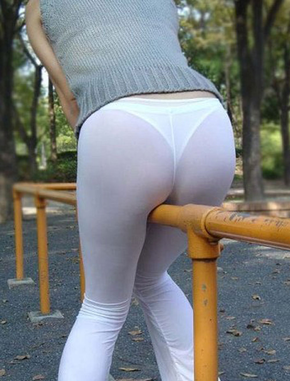 image Transparent see through tights blue thong public