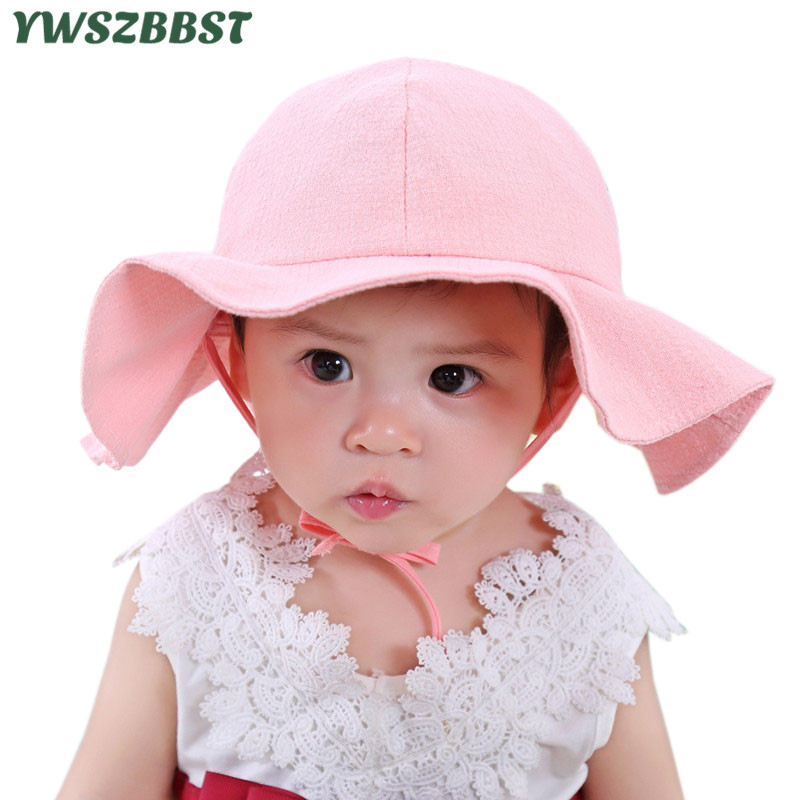 2018 New Brand Summer Baby Girl Hat Baby Sun Hat Summer Flower Caps Cotton Bucket  Caps Child Sun Cap Kids Girls Brim Beach Hats da460ef33d65