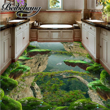 Decorative floor painting Custom 3d stereoscopic vinyl flooring waterproof wall paper Forest, Valley bath