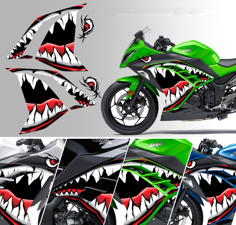 For Kawasaki Little Ninja Z250 300 Lique Refit Stickers Racing Car Electric Motorcycle Accessories Shark Universal