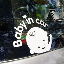 Hot Great Deal Baby In Car Waving Baby on Board Safety Sign Car Decal / Sticker Drop Shipping(China)