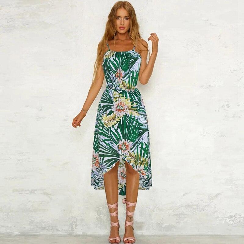 Мода Женщины; Лето; в стиле бохо Платье До Колена Вечеринка пляж повязку платья Vestidos женщина сарафан цветочный платье на бретелях T6