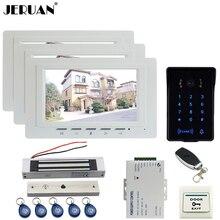 """JERUAN nuevo 7 """"LCD monitor de Vídeo de Intercomunicación Video de La Puerta Sistema de Teléfono 3 blanco RFID Táctil A Prueba de agua Cámara de La llave + control remoto Desbloquear"""