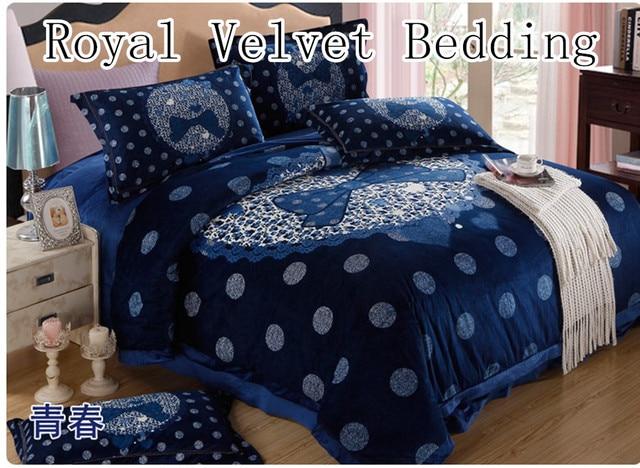Royal velvet duvet cover/Wiinter Blue Bedding Set/luxury Bedding duvet cover