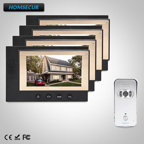 HOMSECUR 7 Wired Video&Audio Home Intercom+Silver Camera for Apartment (TC021-S+TM701-B)