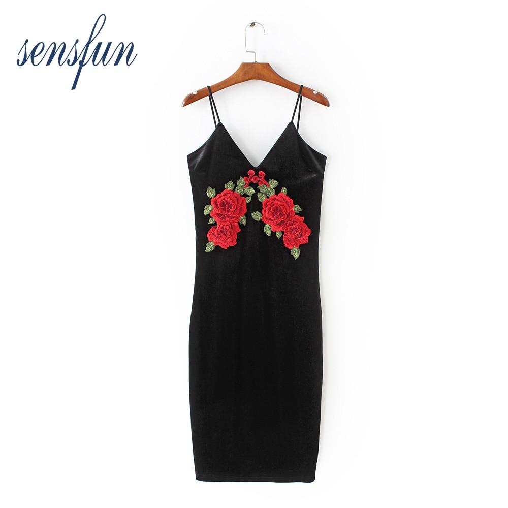 Sensfun 2018 Sexy Black Women Dresses Spaghetti Straps Sleeveless Summer knee-length Bodycon Dresses Vestidos Velvet