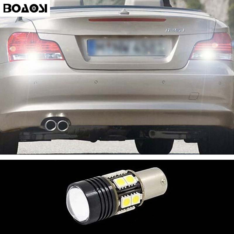 BOAOSI 1x P21W LED Canbus 1156 Ba15s R5 Rear Reversing Tail Light Bulb For BMW 3/5 SERIES E30 E36 E46 E34 X3 X5 E53 E70 Z3 Z4 minimalist s p e w