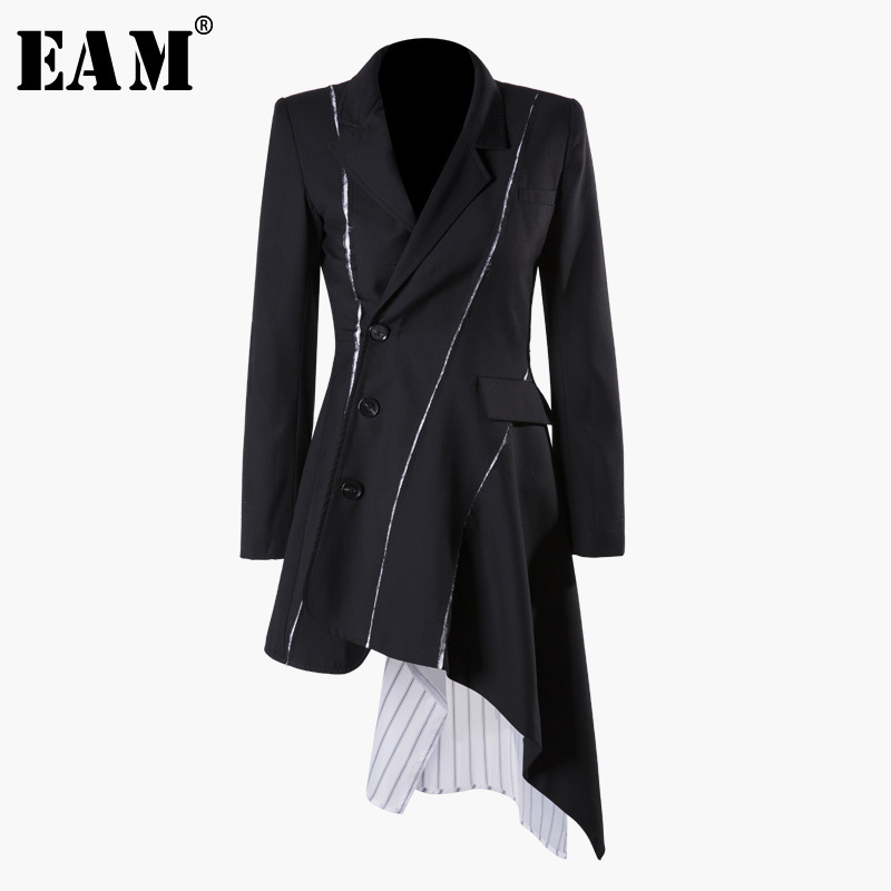 [EAM] 2019 New Autumn Winter Lapel Long Sleeve Black Striped Irregular Button Split Joint Loose Jacket Women Coat Fashion JQ681-in Jackets from Women's Clothing    1