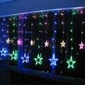 2x1 m RGB LED String LUZES Da Cortina de Fadas Do Casamento Do NATAL Decoração Fundo 168 Lâmpadas de 12 Estrelas 110 V/220 V UE/EUA/REINO UNIDO/AU