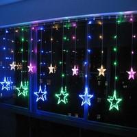 2x1m RGB LED String CHRISTMAS Wedding Fairy Curtain LIGHTS Background Decoration 168 Lamps 12 Stars 110V/220V EU/US/UK/AU